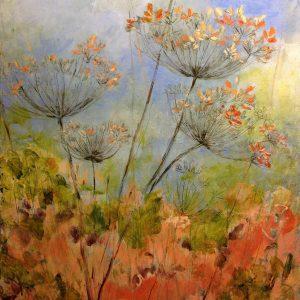 Schilderij bloemen oranje