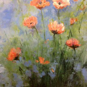 Schilderij bloemen klaprozen