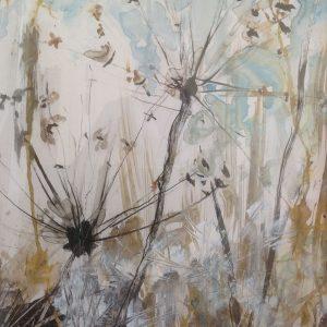 Schilderij bloemen uitgebloeid