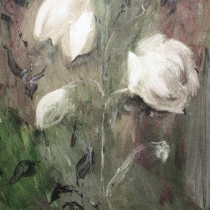 Schilderij bloemen wit